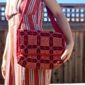 Red Artisan Geometric BOHO HIppie Cross Stitch Bag